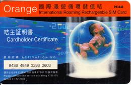 HONG KONG - Baby, Orange/Hutchison Telecom Recharge Card, Used - Hong Kong