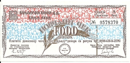 BOSNIE HERZEGOVINE 1000 DINARA 1992 VF+ MILITARY CHECK - Bosnia And Herzegovina