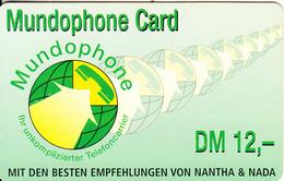 GERMANY - Mundophone Prepaid Card DM 12, Used - Montagnes