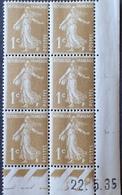 R1615/126 - 1935 - TYPE SEMEUSE - BLOC N°277A CdF TIMBRES NEUFS** - Esquina Con Fecha