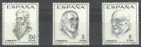 ESPAÑA 1966 - LITERATURA ESPAÑOLA - LITERATOS - EDIFIL 1758-1760 - YVERT 1418-1420 - Escritores