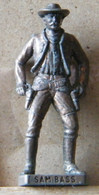 MONDOSORPRESA, (SLDN°89) KINDER FERRERO, SOLDATINI IN METALLO COWBOY 1° SAM BASS  VECCHIO BRUNITO E OTTONE - Metal Figurines