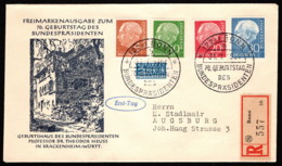 """GER SC #703, 708, 710, 712 (Mi 178, 183, 185, 187) + """"NOTOPFER"""" 1954 Pres. Theodor Heuss FDC 01-31-1954 - Covers & Documents"""