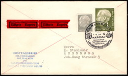 GER SC #707, 719 (Mi 182, 194) 1954 Pres. Theodor Heuss FDC 04-01-1954 - Covers & Documents