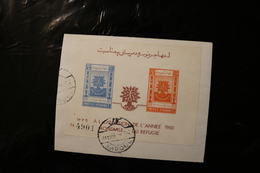 Afghanistan WRY World Refugee Year Uprooted Oak Cancelled On Piece Souvenir Sheet Block 1960 A04s - Afghanistan