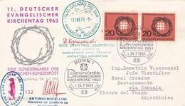 1963 COVER: DEUTSCHER EVANGELISCHER KIRCHTAG, CIRCULEE BONN TO ARGENTINE MIXED MARKS ANTARCTICA.. - BLEUP - Autres