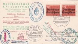 1963 COVER GERMANY HEIDELBERGER KATECHISMU, CIRCULEE TO DESTAC NAVAL ORCADAS, ARGENTINE ANTARCTICA, VIA USHUAIA - BLEUP - Autres