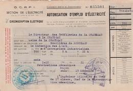 1944 / Rationnement / Autorisation électricité 700 Kw Mois / Usine Tréfileries La Chaudeau 70 / Houillères Ronchamp - 1939-45