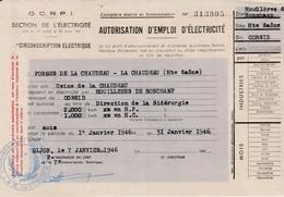 1946 / Rationnement / Autorisation électricité 2000 Kw Mois / Usine Tréfileries La Chaudeau 70 / Houillères Ronchamp - 1939-45