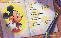 Télécarte Japon / 110-186294 - DISNEY - Mickey Mouse / Identité - DAI ICHI LIFE - Japan Phonecard Telefonkarte / Assu - Disney