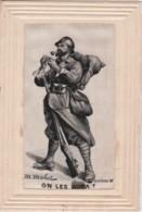 """Bu - Cpa Patriotique Brodée Sur Soie - """"On Les Aura"""" Par M. Mahut - Patriotic"""