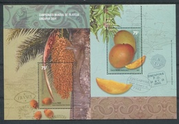 """SINGAPUR 2004"" CAMPEONATO MUNDIAL DE FILATELIA. ARGENTINA JALIL HB 163 HOJITA BLOC MNH TBE FRUTO DE PINDO, MANGO -LILHU - Frutas"