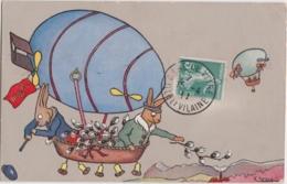 Bu - Cpa Illustrée Hesse - Dirigeable Avec Lapins - Airships