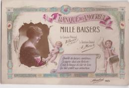 Bu - Cpa Fantaisie - BANQUE Des AMOUREUX - Mille Baisers - Monnaies (représentations)
