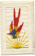 N°12903 - Carte Brodée - Oiseau Et Soleil - Embroidered