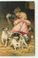 N°12938 - Carte Gaufrée - Arthur Telsley - Enfants Jouant Avec Des Chiots - Autres Illustrateurs
