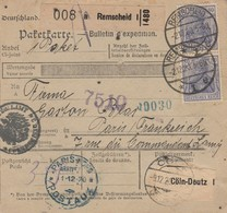 DR INFLA 1920 PAKETKARTE  BULLETIN D EXPEDITION REMSCHEID  PARIS PK5 - Briefe U. Dokumente