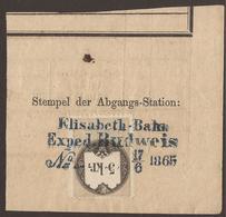 AUSTRIA / CZECH / BOHEMIA. REVENUES. RAILWAY STATION CANCEL. ELISABETH-BAHN / EXPED. BUDWEIS. - Revenue Stamps