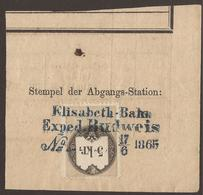 AUSTRIA / CZECH / BOHEMIA. REVENUES. RAILWAY STATION CANCEL. ELISABETH-BAHN / EXPED. BUDWEIS. - Fiscali
