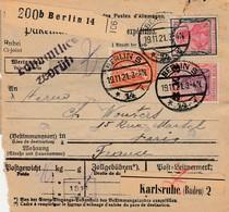 DR INFLA 1921 PAKETKARTE  BULLETIN D EXPEDITION BERLIN S  14   PARIS PK13 - Alemania