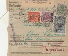 DR INFLA 1921 PAKETKARTE  BULLETIN D EXPEDITION LANDSBERG   PARIS PK19 - Alemania