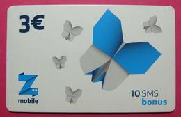 Kosovo Prepaid Phonecard, 3 Euro. Operator ZMOBILE *Butterfly*, Serial # 0....... - Kosovo