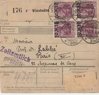 DR INFLA 1921 PAKETKARTE  BULLETIN D EXPEDITION WIESBADEN    PARIS PK22 - Briefe U. Dokumente