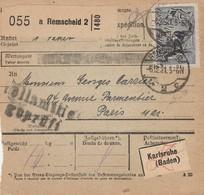 DR INFLA 1921 PAKETKARTE  BULLETIN D EXPEDITION REMSCHEID  2  PARIS PK23 - Briefe U. Dokumente