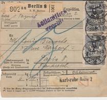 DR INFLA 1921 PAKETKARTE  BULLETIN D EXPEDITION  BERLIN 8  PARIS PK28 - Briefe U. Dokumente