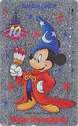 Télécarte ARGENT Japon / 110-139333 - DISNEY - DISNEYLAND / 10 YEARS - Mickey Fantasia Japan SILVER Phonecard - Disney
