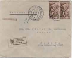Italia Al Lavoro £. 40 Coppia Su Raccomandata Con Annullo Venezia Marghera 26.08.1952 - 6. 1946-.. Repubblica