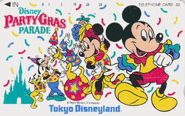 Télécarte Japon / 110-106593 - DISNEY- Mickey Minnie Donald PARTY GRAS PARADE - Disneyland Japan Phonecard Telefonkarte - Disney