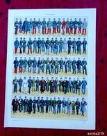 Planche 32 X 24 Cm- Gravure Issue D'un Ancien Larousse : UNIFORMES - Illustrateur : GOICHON - History