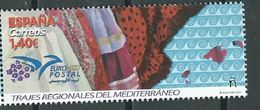ESPAGNE SPANIEN SPAIN ESPAÑA  2019 EUROMED REGIONAL COSTUMES OF THE MEDITERRANEO TRAJES MNH ED 5329 MI 5362 YT 5069 - 1931-Today: 2nd Rep - ... Juan Carlos I