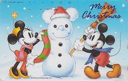 Télécarte Japon  / 110-193363 - DISNEY - Serie NOEL 17/25 - MICKEY BONHOMME DE NEIGE - CHRISTMAS Series Japan Phonecard - Disney