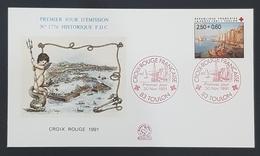 1991 FDC N°1776, Red Cross, Croix Rouge, Toulon, France, Republique Française, Paris - 1990-1999