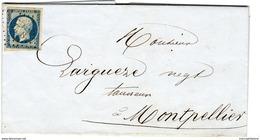 23 LE VIGAN Gard, PC 3578 Sans Le Type 15 1855, Napoleon Non Dentelé 20c Bleu N°14 I - Marcofilia (sobres)