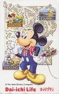 Télécarte Japon / 110-165772 - DISNEY - Pêche Fishing Camping Dai Ichi Life Mickey - Japan Phonecard Assu - Disney