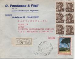 Michelangiolesca £. 25 Blocco Di 6 + Alberi £. 20 Su Raccomandata Con Annullo Torino Piazza Denina 23.02.1967 - 6. 1946-.. Repubblica