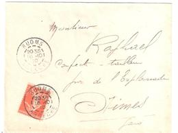 RUOMS Ardéche Lettre 10c Semeuse Yv 138 Ob 16 10 1910 Ob Type 1884 Lautier A3 - Manual Postmarks