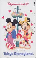 Télécarte Japon / 110-106512 - DISNEY - DISNEYLAND ** 1 ENCOCHE 1 NOTCH ** - Mickey & Minnie Amoureux  - Japan Phonecard - Disney
