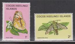 COCOS (KEELING) ISLANDS Scott # 87-8 MH - Butterfly & Moth - Cocos (Keeling) Islands