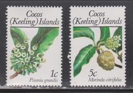 COCOS (KEELING) ISLANDS Scott # 183, 185 MH - Flowers - Cocos (Keeling) Islands