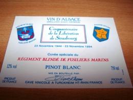 Etiquette Vin Wine Label Militaire Debarquement Normandie Anniversaire Dday Liberation Regiment Blinde Fusiliers Marins - Cinquantenaire De La Libération