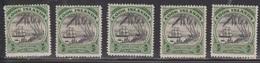COOK ISLANDS Scott # 91 MH X 5 - Sailing Ship & Palm Trees - Cook Islands