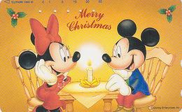 Télécarte Japon / 110-193364 - DISNEY - Série NOEL N° 18/25 - MICKEY & MINNIE Réveillon Bougie CHRISTMAS Japan Phonecard - Disney