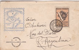 1946 COVER BRAZIL- UPAEP V CONGRESSO. CIRCULEE RIO DE JANEIRO TO MAR DEL PLATA, ARGENTINE- BLEUP - Brésil