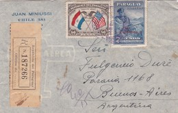 1939 COVER PARAGUAY CIRCULEE A BUENOS AIRES, ARGENTINE, RECOMMANDE- BLEUP - Paraguay
