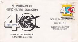 1996 COVER FDC EL SALVADOR- 40 ANIVERSARIO DEL CENTRO CULTURAL SALVADOREÑO - BLEUP - Salvador