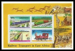 UGANDA 1976 RAILWAY TRANSPORT TRAINS BRIDGES WILDLIFE M/SHEET MNH - Uganda (1962-...)